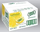 Perfect for water, tea, beverages, recipes and seasoning 0 calories, 0g carbs 0g sugars and no artificial sweeteners. No artificial colors, preservatives, sodium or gluten. 1 packet = the taste of 1 Lemon wedge. 2 packets = 1 Tbsp lemon juice