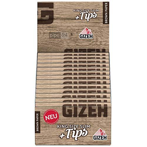 Gizeh 18717 Brown Paper King Size Slim Plus Tips-26 Heftchen mit je Blättchen + 34 Tips, Papier