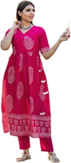 GoSriKi Women's Hand Block Pink Cotton Angrakha Flared Kurta with Pants (Vishal-GF)