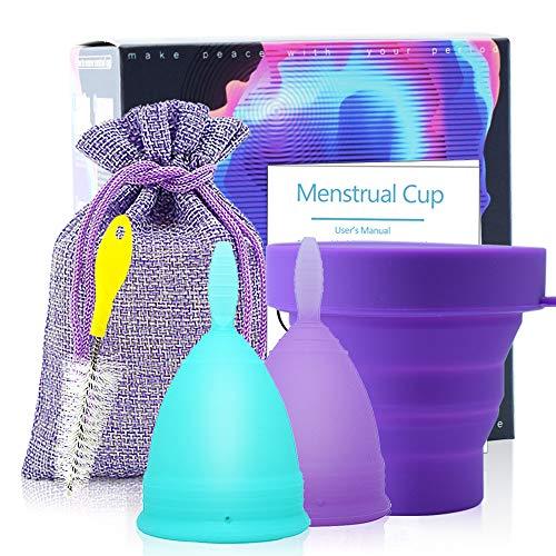 Copa Menstrual Íntima de Silicona Suave Flexible Duradera y Reutilizable de Grado Medicinal - Kit de Higiene Personal Femenino - Incluye 2 Copas Talla S y L con Esterilizador y Cepillo Limpiador ⭐