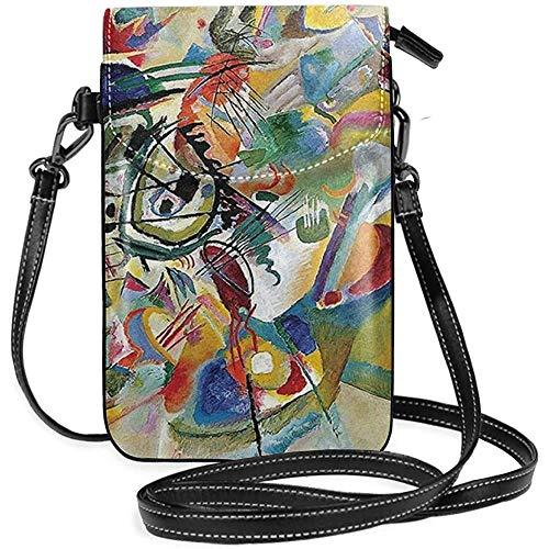 Inner-shop Berühmte abstrakte Kunst Gemälde der Komposition VII von Wassily Kandinsky Leder Handy Geldbörse Halter Brieftasche Functional Multi Pocket