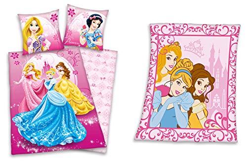 Disneys Princess Geschenkset: Prinzessin Bettwäsche 80x80 135x200cm + Fleecedecke 130x160cm