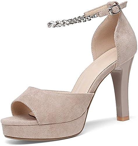 Jqdyl Talons Hauts Sandales Femme Eté Nouvelle Bouche De Poisson Fine avec des Talons Hauts De Mode Chaussures De Bas épais