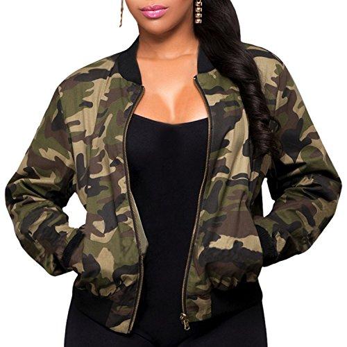 semen Damen Army Jacke Camouflage Military Rundhals Reißverschluss Tunika Militär Grün Wasserdicht Outwear Coat Tops L