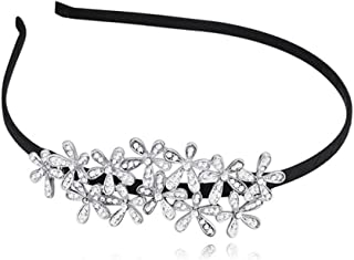 Women's Crystal Rhinestone Accessory Tie Hairbands Flower Leaf Tiara Hair Band Headband Crystal