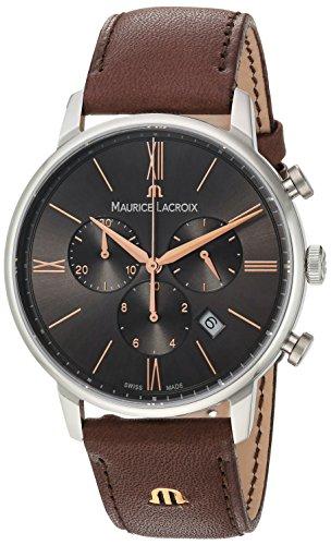 Maurice Lacroix Herren Chronograph Quarz Uhr mit Leder Armband EL1098-SS001-311-1