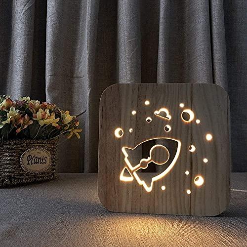 CMMT Lámpara de escritorio creativa 3D hueco de dibujos animados cohete de madera decorativa lámpara de mesa USB LED noche luz dormitorio habitación de los niños cumpleaños 19 * 19 cm escritorio