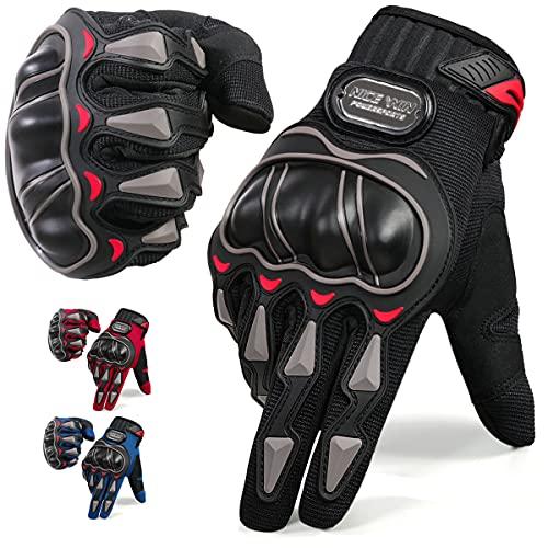 NICEWIN Motorrad Handschuhe, Touchscreen Motorradhandschuhe mit Hartknöchelschutz für Motorradrennen, Mountainbike, Klettern, Wandern, Roller