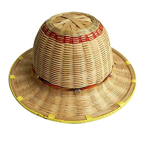JU FU Helm Bambus Woven Helm, Sommer-Breathable Bambus Woven Helm BAU Anti-Kollisions-Helm Bambus Rattan gesponnene Sonnenhut @@ (Color : A)