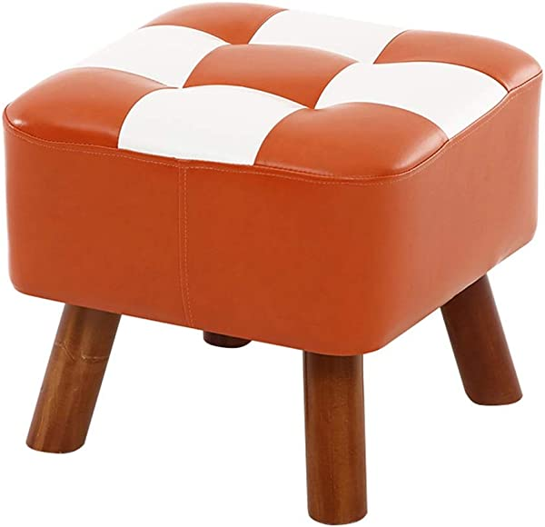 Ottomans Footstool PU Leather Seatting Square Footrest Upholstered Change Shoe Stool Dressing Stool With Wooden 4Legs Color D