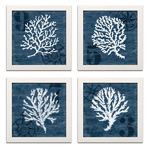 Gango Home Decor 4 Indigo Blue Coral Nautical Signs on a Wood Print Background; Four 12 by 12-Inch White Framed Prints; Ready to hang! Blue/White