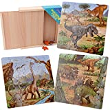 Sealive Dinosaur Jigsaw Puzzles in a Box, Wooden Blocks Toddler Games Construction Toys, 49 x 3 Pieces Dinosaur Train Activity Cube, Dinosaur Puzzles Toys Dino Floor Puzzles for Kids Ages 3-8