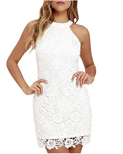 Mujeres Vestido Encaje Bodycon Corto sin Mangas Casual Slim Falda para Fiesta Mini Vestido Blanco M