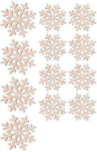 Rayher 46329000 Holz-Streuteile Schneeflocken, für winterliche Dekorationen, Set 12-teilig, FSC 100 Prozent