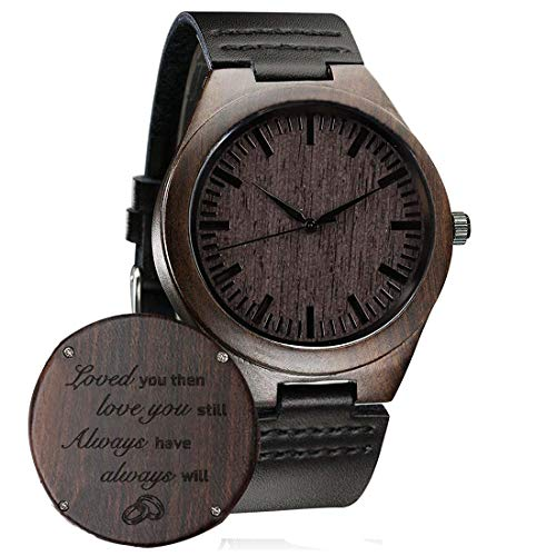Personalized Wooden Watch for Men Dad Husband Son Custom Wood Engraved Leather...
