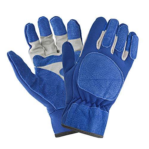 Leder Gartenhandschuhe für Damen und Herren dornensicher Arbeitshandschuhe Schutzhandschuhe für Gartenarbeit Hofarbeit Bauernhof Holzbearbeitung (L, Blau)