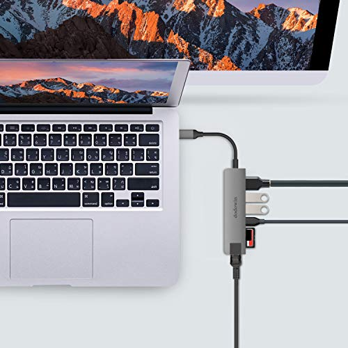 dodowin USB C-Adapter 7 in 1 tragbarer USB C-Hub Aluminium, USB C-Dockingstation für iPad Pro, Adapter MacBook Pro MacBook Air M1 / 2020-16, USB C zu HDMI 4K, RJ 45, 2 x USB 3.0, SD/MSD, 1 x Typ C.