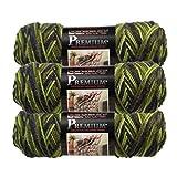 Bernat (3 Pack Premium 100% Acrylic Soft Peacock Green Blue Yarn for Knitting Crocheting Medium Worsted #4