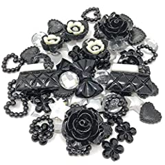 Black/Silver Flatbacks Perfect for Craft and Scrapbooking Pack of 80 Sizes range between 10-20mm Mixed Resin Flatbacks