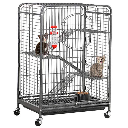 YAHEETECH 37-inch Rolling Kitten Cage - Portable 4 Levels Ferret Chinchilla Squirrels Sugar Glider Small Animals Hutch w/Shelves/Ramps/2 Front Doors/Bowl/Bottle Black