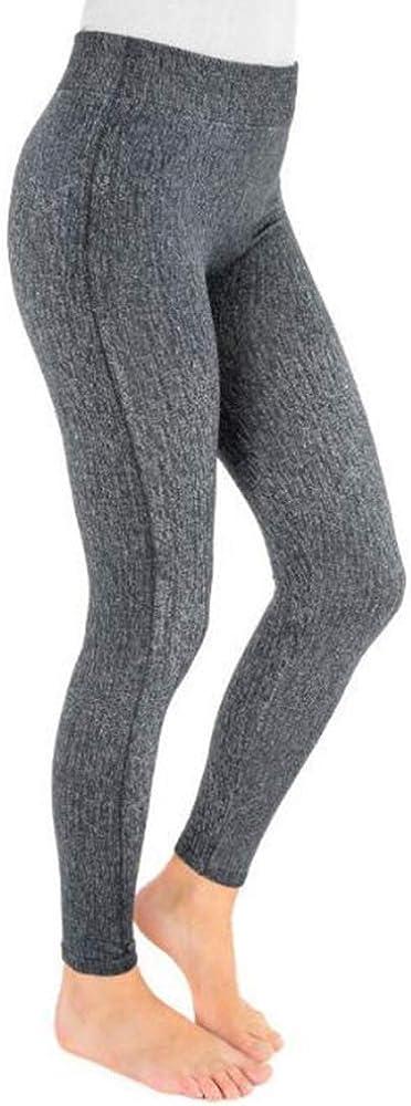MUK LUKS Women's Fleece-Lined Faux Denim Leggings