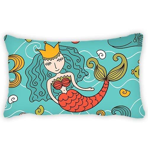 Kleinkind-Kissenbezug, Cartoon-Meerjungfrau, mit Krone, 33 x 45 cm, bequemer Stoff, weich und beste Menge für Kinder.