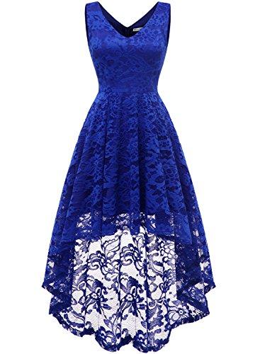 MuaDress 6666 Damen Kleid Ärmellose Cocktailkleider Knielang Abendkleider Elegant Spitzenkleid V-Ausschnitt Asymmetrisches Brautjungfernkleid Royalblau L