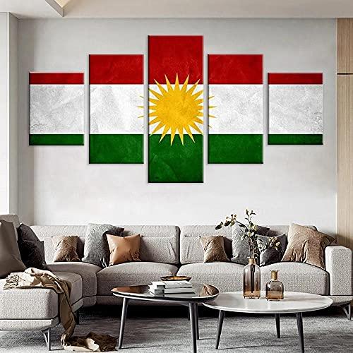 QWASD Bandera De Kurdistan Cuadro En Lienzo Equipo De 5 Piezas Material Tejido No Tejido Impresión Artística Imagen Decor Pared