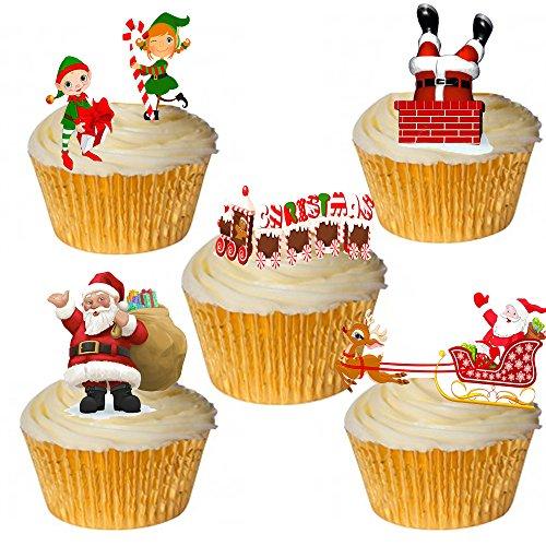 24graziose decorazioni per torte in cialda commestibile, in posizione eretta, a tema Babbo Natale ed elfi natalizi