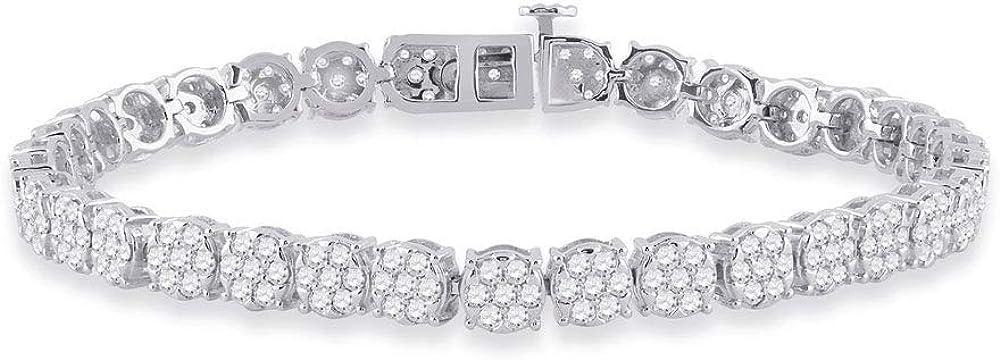 Diamond2deal, bracciale tennis da donna, in oro bianco 14kt(17,25 gr), con diamanti rotondi 3,36 carati D2D-DTD477056