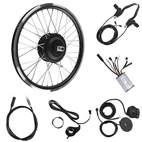Kits de conversión de Bicicleta eléctrica, Kit de Rueda de Bicicleta eléctrica 36V/48V 250W Motor KT900S Pantalla LED Rueda de 20'Adecuado para llanta de Bicicleta Reforzada (Front Motor 48V)