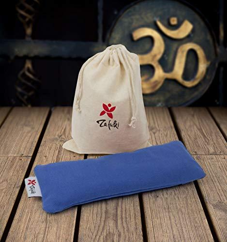 Almohadilla Relajante para Ojos (22 x 8,5cm) - con saquito Tela para guardarlo - Ideal para la práctica de savasan en Yoga, Relleno de Semillas y Flor de Lavanda. (Azul Laguna)