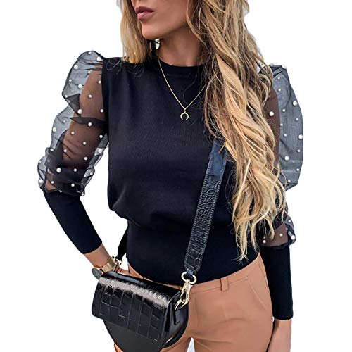 Vrouwen Lente Mesh Puff Lange Mouw Geribbeld Gebreid Shirt Losse Casual Polka Dots Blouse Tops Elegante Coltrui Party Clubwear