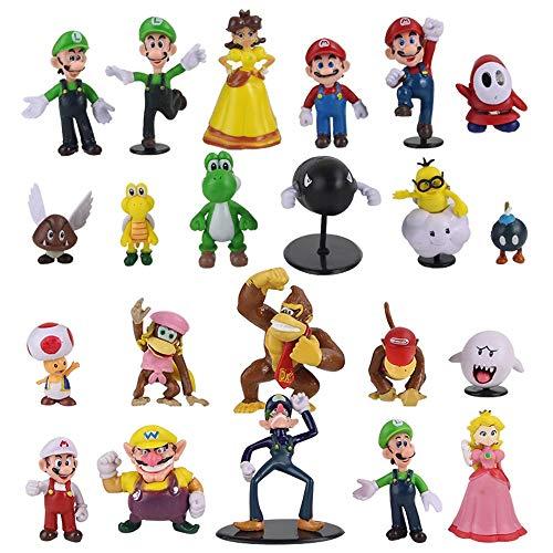 XINKANG Set de Juguetes 22pcs/Set Super Mario Figure Toys Luigi Yoshi Toad Donkey Kong Bowser Goomba Bomba Wario Waluigi Diddy Ghost Figurine Mini Dolls