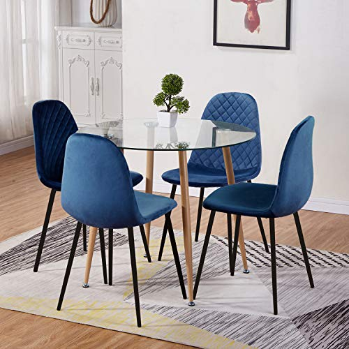GOLDFAN Glass Round Dining Table and Chairs Set of 4 Modern Kitchen Table and Velvet Chairs Dining Room Set,Blue