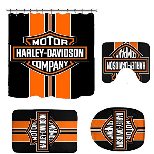 4 Pcs Sets Harley Davidson Shower Curtain with Non-Slip Rugs, Toilet Lid Cover and Bath Mat,Shower Curtain with 12 Hooks, Durable Waterproof Shower Curtain