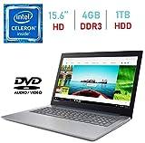 Lenovo IdeaPad 320 15.6-inch HD Anti-Glare (1366x768) Display Laptop PC, Intel Celeron N3350 Processor, 4GB DDR4 RAM, 1TB HDD, HDMI, Bluetooth, 802.11ac WiFi, Webcam, DVD-RW, Windows 10 Blue (Renewed)