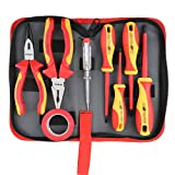 Hi-Spec 8 Piece Insulated Electrician Tool Set – 1000V VDE Approved Pliers, Slotted & Phillips Screwdrivers with S2 Steel Tips, Voltage Tester & Electrical Tape for DIY Electrics