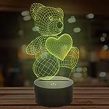 Lampada a forma di orsacchiotto in 3D a 7 colori che cambiano