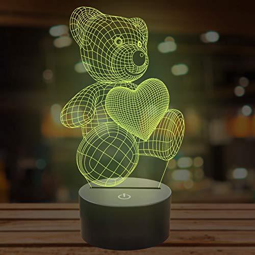 Lampada A Forma Di Orsetto, Con Illusione Ottica 3D, 7 Colori Cangianti