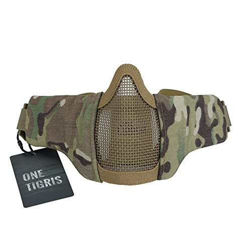 OneTigris Small Tactical Mask 4.5' Foldable Half Face Mask Protective Mesh Mask Fit for Women & Teenagers (Multicam)
