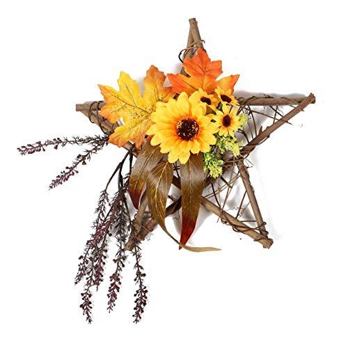 ZJHCC Artificial Sunflower Summer Wreath with Wooden Frame, Floral Door Wreath with Yellow Sunflower for Front Door Indoor Wall Decor