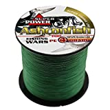 Ashconfish Super Strong Braided Fishing Line-4 Strands Fishing Wire 300M/328Yards Fishing String 6LB-Abrasion Resistant Incredible Superline Zero Stretch Small Diameter -Moss Green