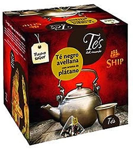 Ship - Té Pirámide Avellana con Aroma a Plátano en Caja de 15 Unidades - Con Funda - Propiedades Antioxidantes - Mejora el Funcionamiento del Organismo - Efecto Estimulante - Infusiones y Tes