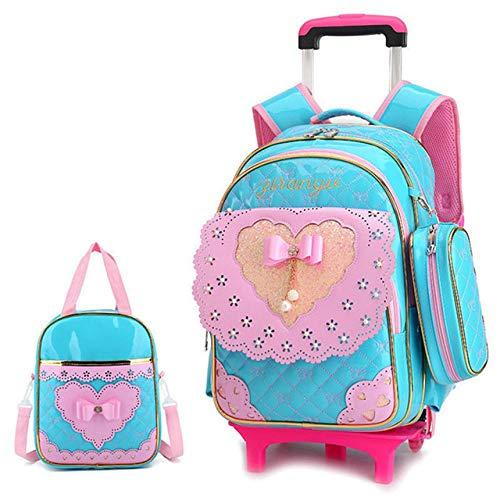 LAHEBANIE Netter Bogen-Neue Prinzessin Style Girls Trolley School Bag 3pcs / Set Pu-Leder-wasserdichter fahrbarer Rucksack-Rüschen-entfernbarer Rucksack