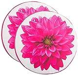 Brandsseller Sitzkissen 2er Set Stuhlkissen Sitzpolster Bodenkissen Rund ca. Ø 40 cm x 4 cm Blumen Design Pink/Weiß