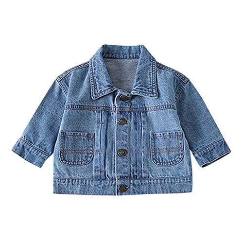 Deloito Herbst Winter Steppjacke Kleinkind Baby Kleidung Kinder Mädchen Jungen Langarm Jeansjacke Denim Mantel Verschluss Jacke Outwear (Blau-B,100/18-24 M)