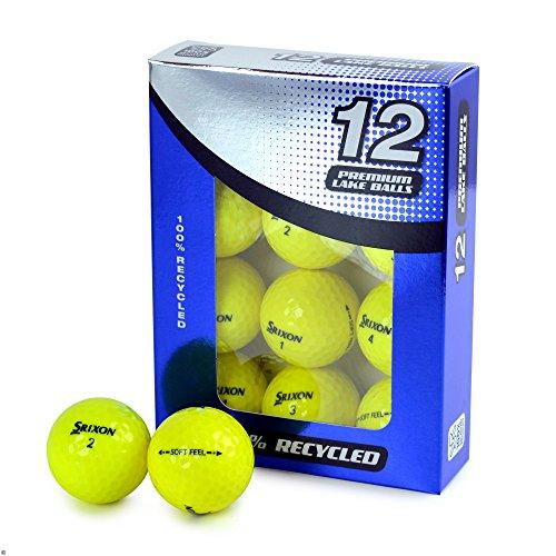 Second Chance Srixon - Bolas de Golf de Tacto Suave, 100 Unidades, Grado A, con Bolsa de Almacenamiento Reutilizable, Color Amarillo, Unisex, Sri-Softfeel-Yel-12-A, Amarillo, 12