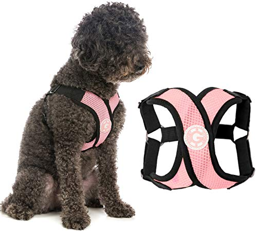 Gooby Dog Harness - Pink, Medium - Comfort X Step-in Small Dog Harness with Patented Choke-Free X Frame - Perfect on The Go No Pull Harness for Small Dogs or Cat Harness