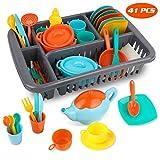 MerryXGift 41pcs Küchenspielzeug Kinderküche Zubehoer Teeservice Set Kochgeschirr Puppengeschirr Spielküche Zubehör für Mädchen und Jungen